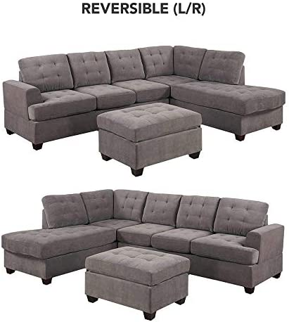 home, kitchen, furniture, living room furniture,  living room sets 4 picture Divano Roma Furniture 3-Piece Reversible Chaise Sectional promotion