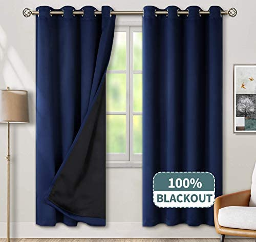 BGment Thermal Insulated 100 Blackout Curtains for Bedroom with Black Liner, Double Layer Full Room Darkening Noise Reducing Grommet Curtain 52 x 84 Inch, Navy Blue, 2 Panels
