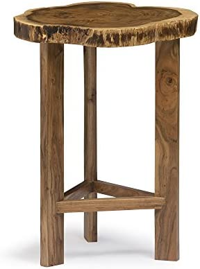 Berkshire Live Edge Solid Wood 20 Round End Table, Natural