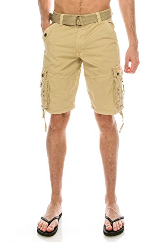 TreuM Men's Cotton Twill Bailey Belted Cargo Shorts Tactical Outdoor Wear Cell Phone Pocket (40, (Bailey Mens Clothing)