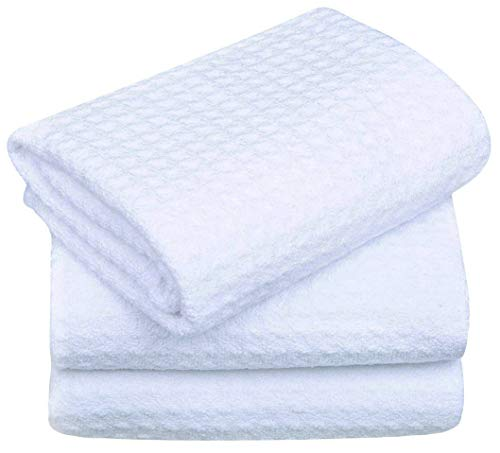 SINLAND Microfiber Dish Drying Towels Waffle Weave Kitchen Towels Absorbent Tea Towels 16 Inch X 24 Inch 3 Pack White
