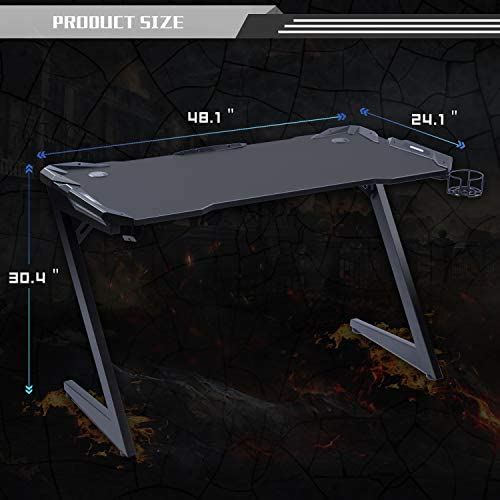 "Bowthy Computer Gaming Desk With RGB LED Lights 47"" Z-shaped Gaming Table For Home Office Ergonomic Gamer Desk With Free Mouse Pad Gaming Table Desk With Holder For Controller, Headphone & Drink Black"