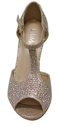 Bella Marie Snart-11 Womens Peep Toe Rhinestone Glitter T- Stropp Danse Sandaler Gull