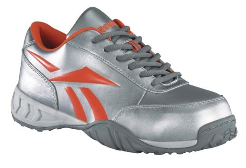 Reebok Womens Silver/Orange Leather Flash Sport Oxford Bema Comp Toe 6.5 W