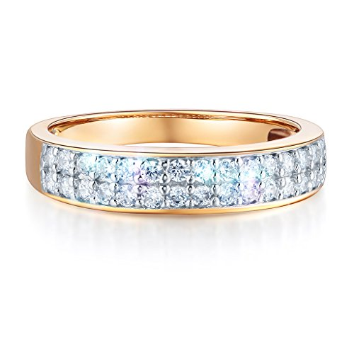Wellingsale Ladies Solid 14k Yellow Gold Polished CZ Cubic Zirconia Pave Wedding Band - Size 7