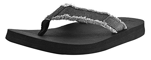 Canvas Men's Flip Flops Cushion Yoga Foam Thong Sandals Non Slip ()