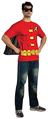 DC Comics Men's Robin T-Shirt With Cape And Mask