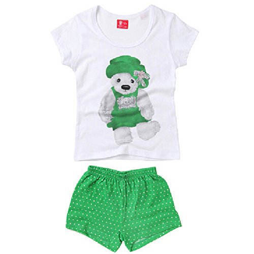 XiaoYouYu Big Girl's Bear Print Summer Cotton Shorts Clothing Set US Size 4T Green