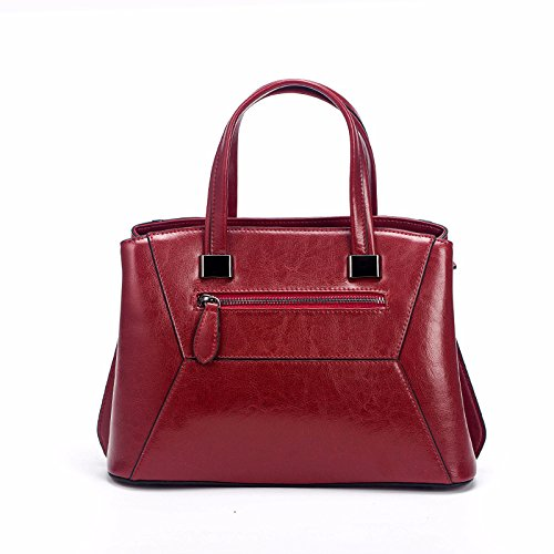 Large Oil Fashion Handbag Messenger Wax Red Shoulder Vintage Leather Bag Women's Capacity gSxYwHnaa