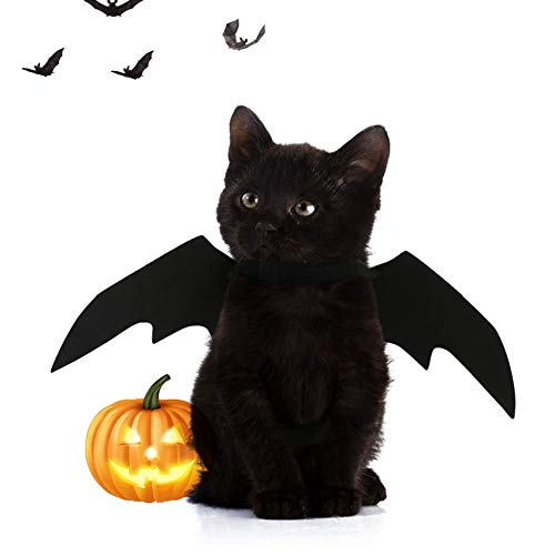 Stock Show 1Pc Pet Halloween Bat Wings Costume, Cat Dog Cool Bat Wings Cosplay Costume Accessory for Halloween Holiday Theme Party, Black -