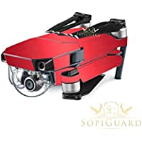 SopiGuard Brushed Red Precision Edge-to-Edge Coverage Vinyl Skin Controller Battery Wrap for DJI Mavic Pro