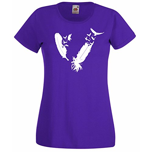 Nib uccelli casuale Of Super Decalcomania con Premium di di The donna gratuita Fruit da uccelli Loom Of T regalo piuma Eagle Herd piume Viola Modello shirt zaxnU