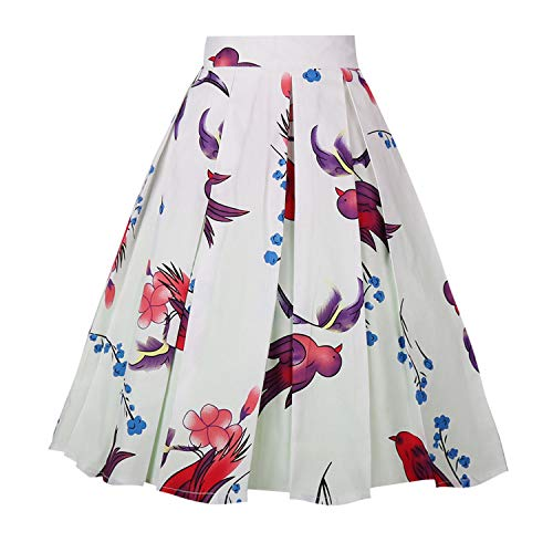 Dresstore Vintage Pleated Skirt Floral A-line Printed Midi Skirts with Pockets Swallow-White-M (Full Skirt)