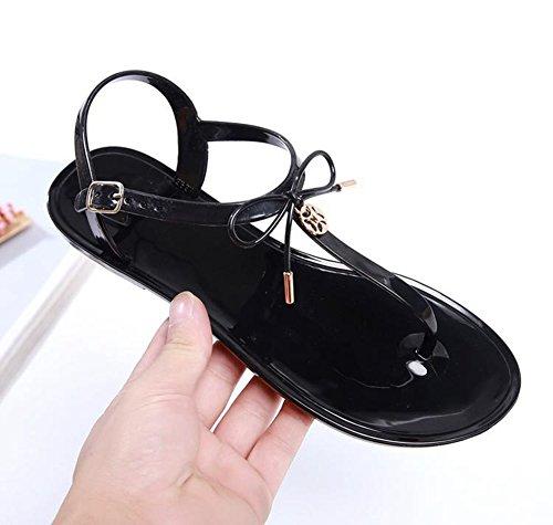 Cybling Womens T-stropp Flate Sandaler Thong Bowknot Sommer Strand Sko  Svart Rosa Skli ...