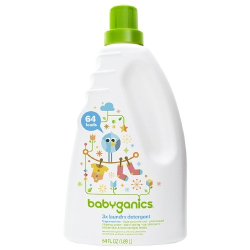Babyganics 3x Baby Laundry Detergent, Fragrance Free, 64oz - Detergent Concentrated Liquid Laundry 3x