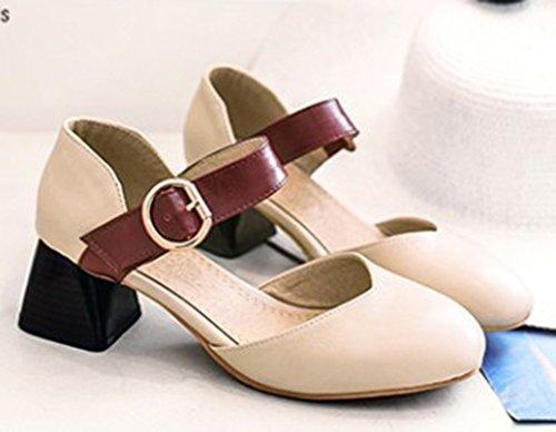 Aisun Womens Vintage Gesp Gesloten Teen Jurk Gestapeld Mid Hakken Mary Jane Sandalen Schoenen Beige