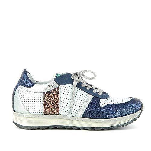Khrio Effet Cuir Bleu Froissé Sneakers En gxwzgqFO8