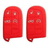 WELLSKEY 2pcs Silicone Car Key Cases Cover Holder Replacement For JEEP FIAT DODGE CHRYSLER Smart Remote (Red) KC013020