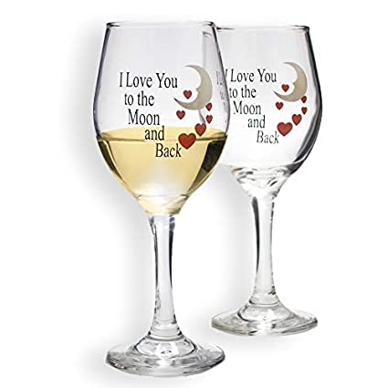 Amazon Com Banberry Designs Set Of 2 Love You More Wine Glasses