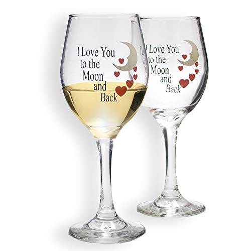 - BANBERRY DESIGNS - Set of 2 Wine Glasses - I Love You to the Moon and Back Design with Red Hearts - 14 oz