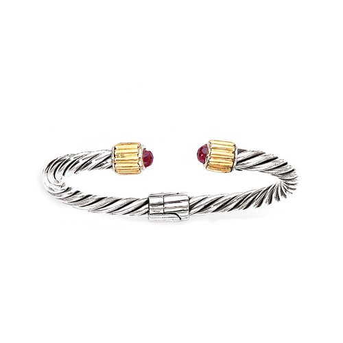 Enchanta Collection Sterling Silver & 18K Twisted Cuff Bracelet with Garnet -