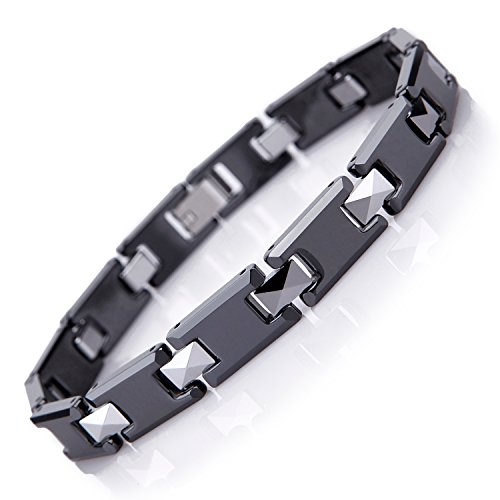 Amazing Tungsten and Ceramic Men's Link Bracelet (Black, Silver) Ceramic Mens Bracelets