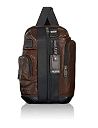 TUMI 092393DB2 Alpha Bravo Leather Saratoga Sling Messenger Bag, Dark Brown, One Size