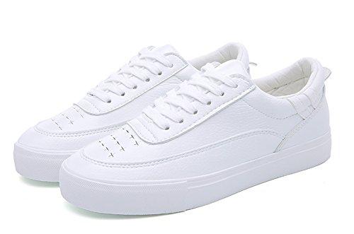 À Femmes Bout Blanc Rond Hauts Skateboard Chaussures Appartements Lacets Casual forme Aisun Plate De Confortable Baskets Bas xHqw00tdT