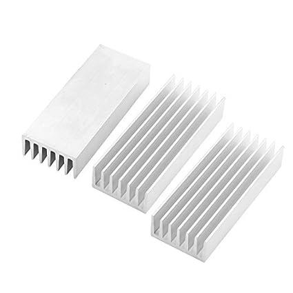 3 Pcs Silver Tone Alumínio Radiador dissipador de calor dissipador de calor 100x40x20mm