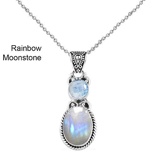 6.15ctw,Genuine Cabachon Rainbow Moonstone & 925 Silver Plated Pendant (Rainbow Pendant Necklace)