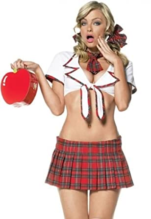 d241b66ea02 NEW WOMANS LADIES NAUGHTY SCHOOL GIRL HEN DOO FANCY DRESS PARTY OUTFIT  LINGERIE  Amazon.co.uk  Clothing