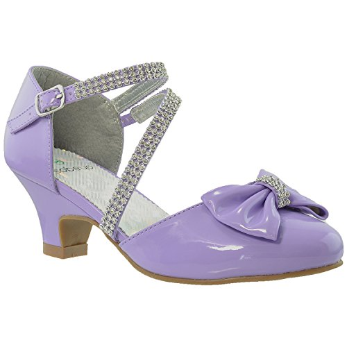 Kids Dress Shoes Rhinestone Bow Accent Kitten Heel Sandals Purple SZ 3