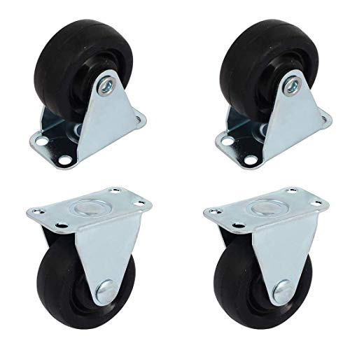 (ZXHAO 2 inch Solid Black Rubber Caster Wheel with Rigid Non-Swivel Top Plate 4pcs)
