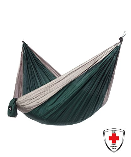 Made With KISH Bug Repellent Just Relax Single Portable Lightweight Camping Hammock, 10.6x5 Feet (Green-Grey)