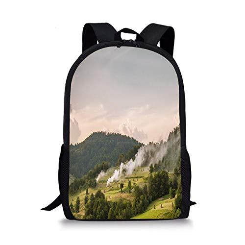 JDSGFJbackbagTY Trees Hay Bales Smoke Hills Cute Fantasy Custom Casual Backpack College School Bag Travel Daypack