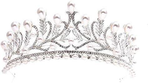 Rhinestones Bridal Hair Accessories Women Rhinestones Crown Simple Diadem Wedding Hair Tiaras,871254 Silver,White
