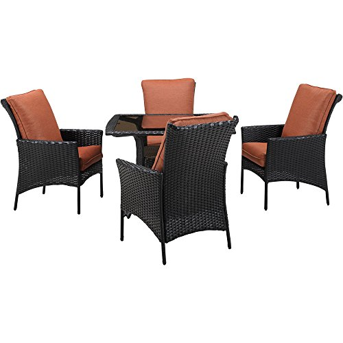 Hanover Strathmere Allure Dining Set (5-Piece) Dark Brown / Orange STRALDN5PCSQ-RST