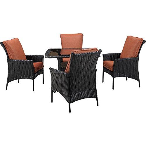 Hanover Strathmere Allure Dining Set (5-Piece) Dark Brown / Orange STRALDN5PCSQ-RST