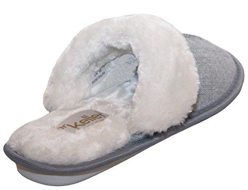 Womens Ladies Dr Keller Ultra Lightweight Slip On Warm Faux Fur Lined Girls Winter Cosy Mules Slippers UK Sizes 3-8 Grey OJWRZ
