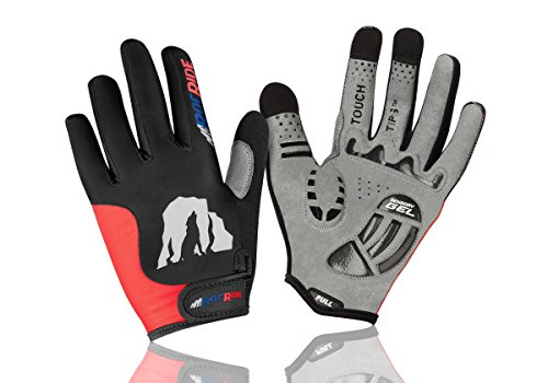 RocRide Cycling Gloves with Gel Padded Protection. Road and Mountain Biking. Full Finger with Touch Tips Men, Women and Children Sizes. (RED/Black, Mens Large)