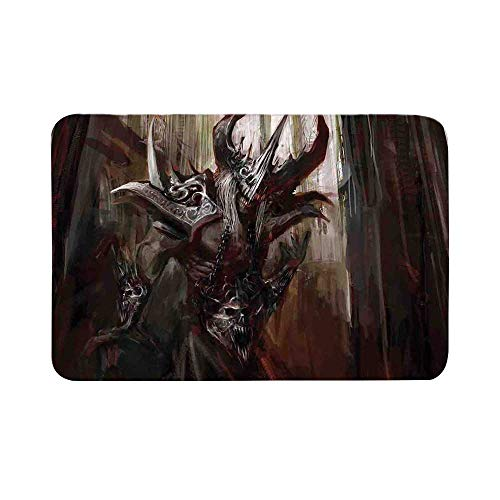 C COABALLA Fantasy World Durable Door Mat,Armored Evil Monster in Cathedral Apocalyptic Imaginary Knight Character Print for Living Room,17.7