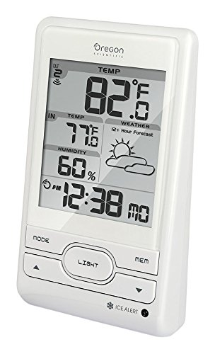- Oregon Scientific BAR206 Weather Forecast Temperature Station, Outdoor/Indoor Temperature Range, 433 Mhz Signal Frequency, Weather Forecast Icon, Ice Alert, Atomic Clock/Calendar, Desktop Only, White