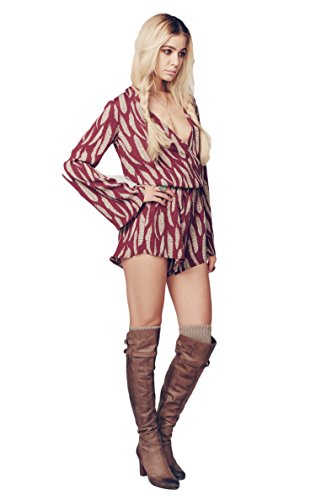 Blue Life New Boho Sleeve Romper in Bordeaux Feather (M)