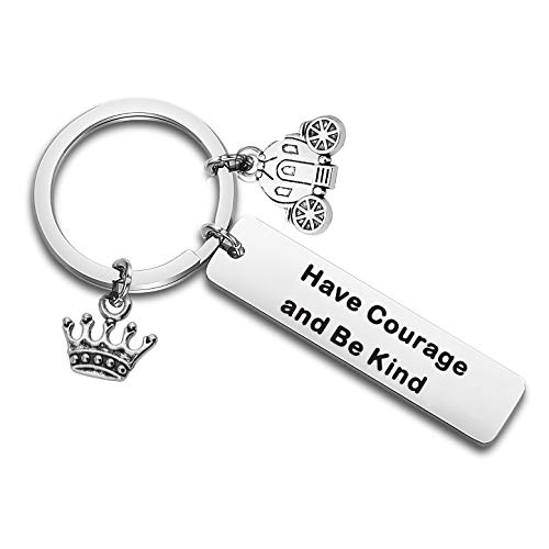 QIIER Have Courage and Be Kind Inspirational Keychain with Pumpkin Carriage Charm Crown Charm Christmas Mother Daughter Friendship Gifts (Silver)