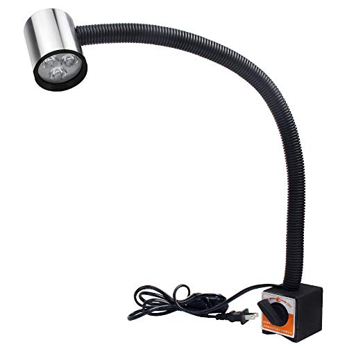 Machine Magnet - LED Work Light 9W Strong Magnetic Machine Light 20in Flexible Gooseneck Lamp with Magnet Base for Crafts, Sewing, Lathe, Drill Press, Workbench