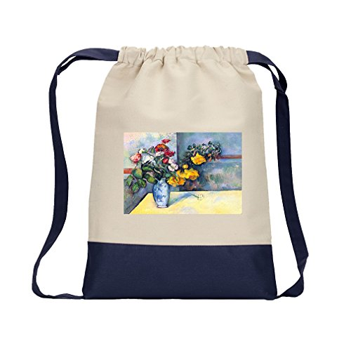 Still Lifes In A Vase (Cezanne) Canvas Backpack Color Drawstring Bag - Navy Cezanne Canvas Vase