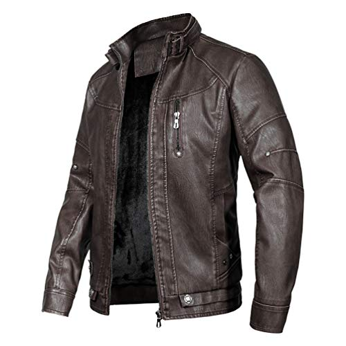 WULFUL Men's Vintage Stand Collar Leather Jacket Motorcycle PU Jacket and - Leather Motorcycle Jacket Coat