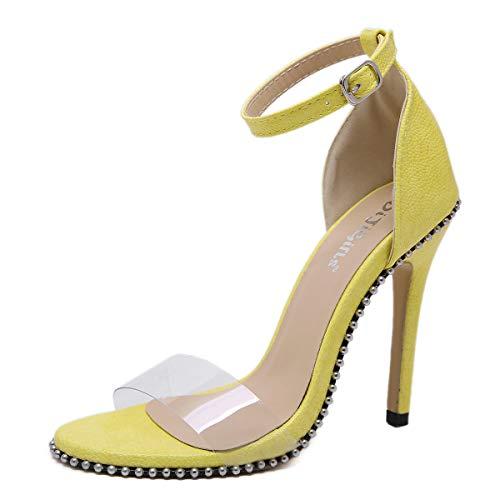 Transparentes Con Alto Abalorios Transparente Sandalias Fengjingyuan Tacón Y De Yellow Punta Mujer Zapatos Para xFwz0TY