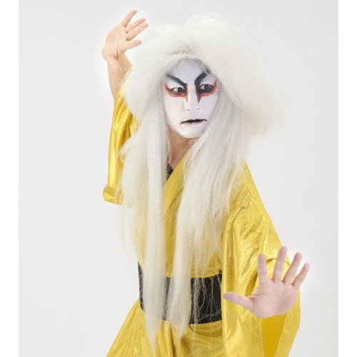Japanese Anime Kabuki White Wig Costumes Cosplay Party Goods (Japan Import) - Kabuki Costume