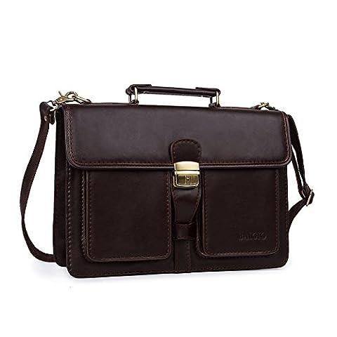 Locking Briefcase Designer Inspired File Brief Brown Messenger Bag Slim Office Attache Cases - Attache Brief